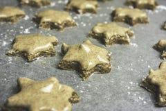 Serie di biscotti glassati della stella della cannella pronti ad essere al forno - horiz Immagini Stock Libere da Diritti