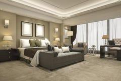 serie di camera da letto moderna di lusso della rappresentazione 3d in hotel e nella località di soggiorno Fotografia Stock Libera da Diritti