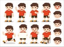 Serie di caratteri dei ragazzi nelle pose e nel facial differenti illustrazione di stock