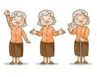 Serie di caratteri del fumetto della donna anziana Immagini Stock