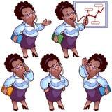 Serie di caratteri del fumetto della donna di affari Immagine Stock Libera da Diritti