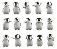 Serie di caratteri del pinguino del bambino, illustrazione 3D Fotografie Stock Libere da Diritti