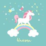 Serie di caratteri dell'unicorno Raccolta magica sveglia con l'unicorno, l'arcobaleno, il cuore, le ali leggiadramente ed il pall illustrazione di stock