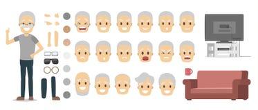 Serie di caratteri dell'uomo anziano per l'animazione illustrazione di stock