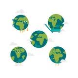 Serie di caratteri piana del globo del fumetto di vettore isolata Immagine Stock