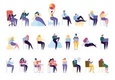 Serie di caratteri professionale della varia gente creativa illustrazione vettoriale