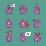 Serie di caratteri sveglia del mostro Immagini Stock
