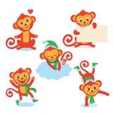 Serie di caratteri sveglia della scimmia Illustrazioni di vettore di A in varie pose Tutti su fondo bianco Fotografia Stock