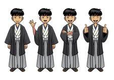 Serie di caratteri tradizionale dell'uomo del Giappone royalty illustrazione gratis