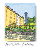 Serie di carta o di flayers degli inviti di viaggio di vacanza con scrittura calligrafica Fotografie Stock Libere da Diritti