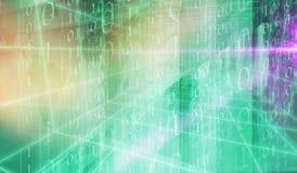 Serie 397 di concetto del fondo dello spazio di codice binario 3D di Digital Fotografia Stock