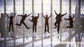 Serie di gente di affari di salto al rallentatore stock footage