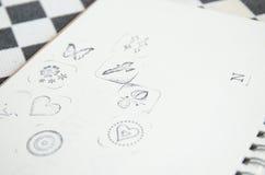 Serie di icona del timbro di gomma su carta in bianco Fotografia Stock Libera da Diritti