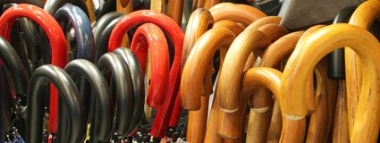 serie di molte maniglie dell'ombrello Fotografia Stock