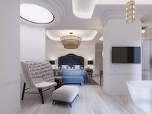 Serie di progettazione moderna con l'arredamento elegante e un bagno e una camera da letto aperti illustrazione di stock