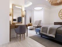 Serie di progettazione moderna con l'arredamento elegante e un bagno e una camera da letto aperti illustrazione vettoriale