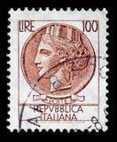 Serie di Turrita del francobollo dell'Italia 100 Lire Fotografia Stock