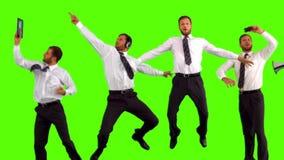 Serie di uomo d'affari di salto al rallentatore archivi video