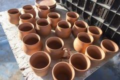 Serie di vaso ceramico a tempo di tramonto Fotografia Stock