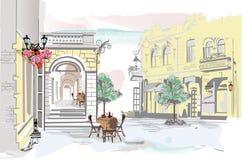Serie di viste della via con i caffè nella vecchia città illustrazione vettoriale