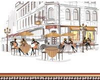 Serie di viste della via con la gente illustrazione vettoriale