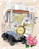 Serie di viste della via nella vecchia città royalty illustrazione gratis