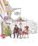 Serie di viste della via nella vecchia città Caffè bevente delle coppie romantiche royalty illustrazione gratis