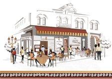 Serie di viste della via nella vecchia città con la gente illustrazione di stock