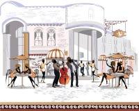 Serie di viste della via nella vecchia città con la gente royalty illustrazione gratis