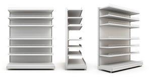 Serie di visualizzatori con gli scaffali su bianco Fotografia Stock