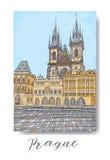 Serie dibujada mano de tarjeta o de flayers de las invitaciones del viaje de las vacaciones con la escritura caligráfica de la ci Foto de archivo libre de regalías
