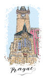 Serie dibujada mano de tarjeta o de flayers de las invitaciones del viaje de las vacaciones con la escritura caligráfica de la ci Fotografía de archivo libre de regalías