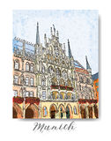 Serie dibujada mano de tarjeta o de flayers de las invitaciones del viaje de las vacaciones con la escritura caligráfica de la ci Fotos de archivo libres de regalías