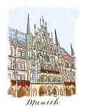 Serie disegnata a mano di carta o di flayers degli inviti di viaggio di vacanza con scrittura calligrafica della città Immagini Stock Libere da Diritti