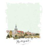Serie disegnata a mano di carta o di flayers degli inviti di viaggio di vacanza con scrittura calligrafica della città Fotografie Stock Libere da Diritti