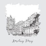 Serie disegnata a mano di carta o di flayers degli inviti di viaggio di vacanza con scrittura calligrafica della città Fotografie Stock