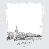 Serie disegnata a mano di carta o di flayers degli inviti di viaggio di vacanza con scrittura calligrafica della città Immagine Stock Libera da Diritti