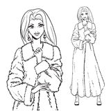 Serie - donna in pelliccia Fotografie Stock