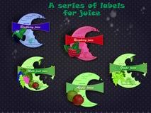 Serie etykietki dla soku Fotografia Stock