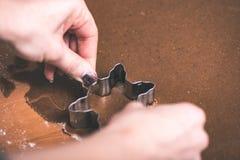 Serie för danandepepparkakakakor Bitande degark in i shap Arkivbilder