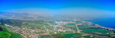 Serie för heligt land - Migdal dal Panorama#2 royaltyfri fotografi