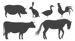 7 serie för illustration för djurtecknad filmlantgård silhouette vektor illustrationer