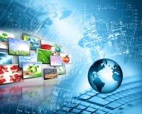 serie för internet för hand för bäst jordklot för affärsidébegrepp globalt glödande Arkivfoton