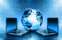 serie för internet för hand för bäst jordklot för affärsidébegrepp globalt glödande Arkivbild