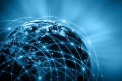 serie för internet för hand för bäst jordklot för affärsidébegrepp globalt glödande Arkivbilder