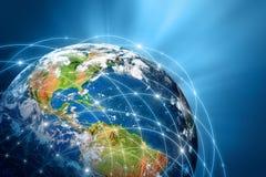 serie för internet för hand för bäst jordklot för affärsidébegrepp globalt glödande Fotografering för Bildbyråer