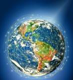 serie för internet för hand för bäst jordklot för affärsidébegrepp globalt glödande Royaltyfria Foton
