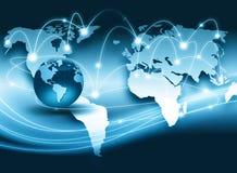 serie för internet för hand för bäst jordklot för affärsidébegrepp globalt glödande Arkivfoto