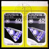 Serie för sputnik 2, airpost-, rymdskepp- och Apollo Soyuz Emblem, circa 1975 royaltyfri fotografi