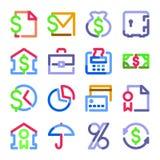serie för symboler för färgkonturfinans Royaltyfri Foto